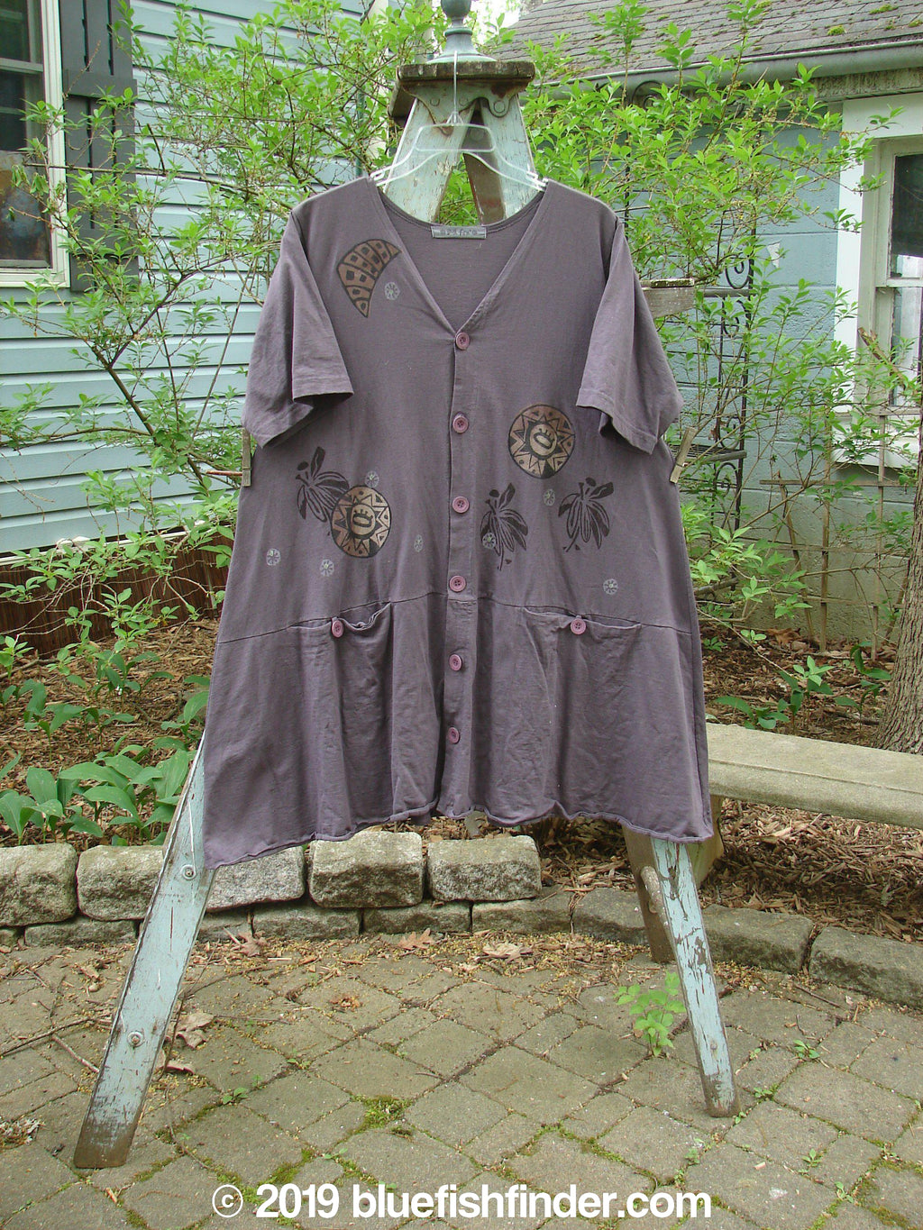 Vintage Blue Fish Clothing 1996 Sowing Dress Star Sun Violet Field Size 2- Bluefishfinder.com
