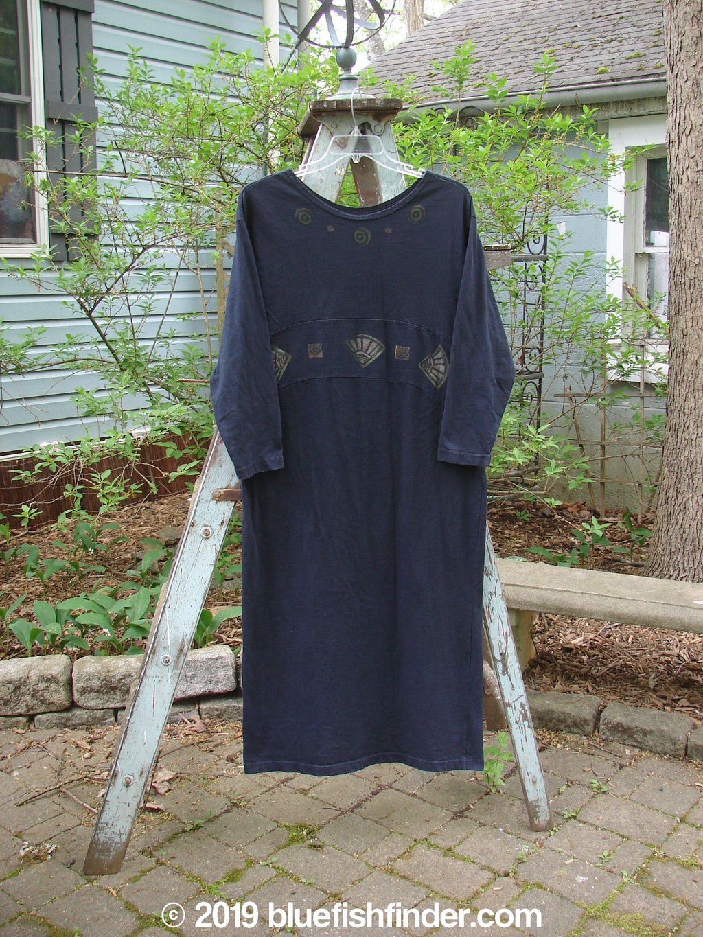 Vintage Blue Fish Clothing 1995 Empire Dress Fan Black Velvet Size 1- Bluefishfinder.com