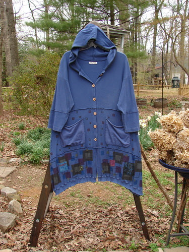 Vintage Blue Fish Clothing Barclay Patched Thermal Sectional Hoodie Jacket Multi Square Blueprint Size 1- Bluefishfinder.com