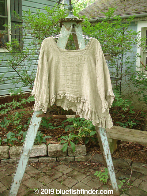 Vintage Blue Fish Clothing Magnolia Pearl Linen Homespun Square Neck Shirt Natural OS- Bluefishfinder.com