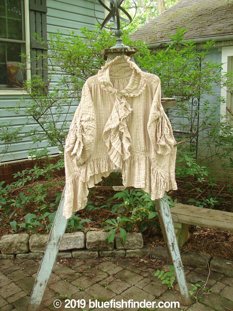 Vintage Blue Fish Clothing Magnolia Pearl Pucker Linen Ruffle Front Collar Jacket Natural Stripe OS- Bluefishfinder.com