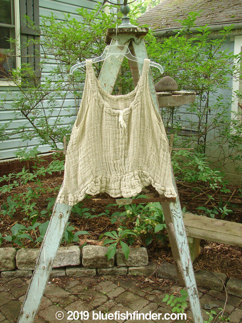 Vintage Blue Fish Clothing Magnolia Pearl Fisherman's Weave Ribbon Neck Top Flaxen OS- Bluefishfinder.com