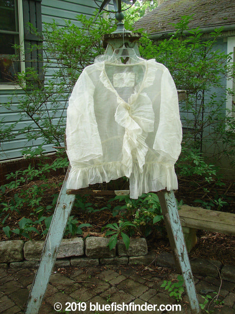 Vintage Blue Fish Clothing Magnolia Pearl Silk Button Ruffle Front Shirt White OS- Bluefishfinder.com