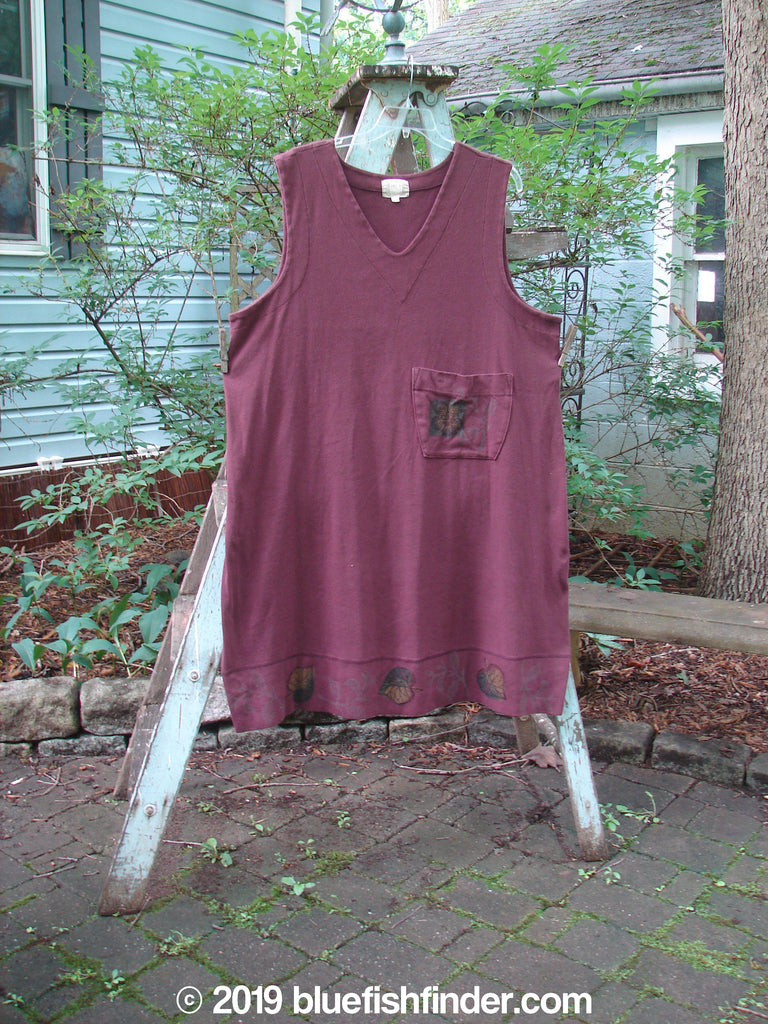 Vintage Blue Fish Clothing 1999 Tie Back Pocket Jumper Deep Burgundy Leaf Size 1- Bluefishfinder.com