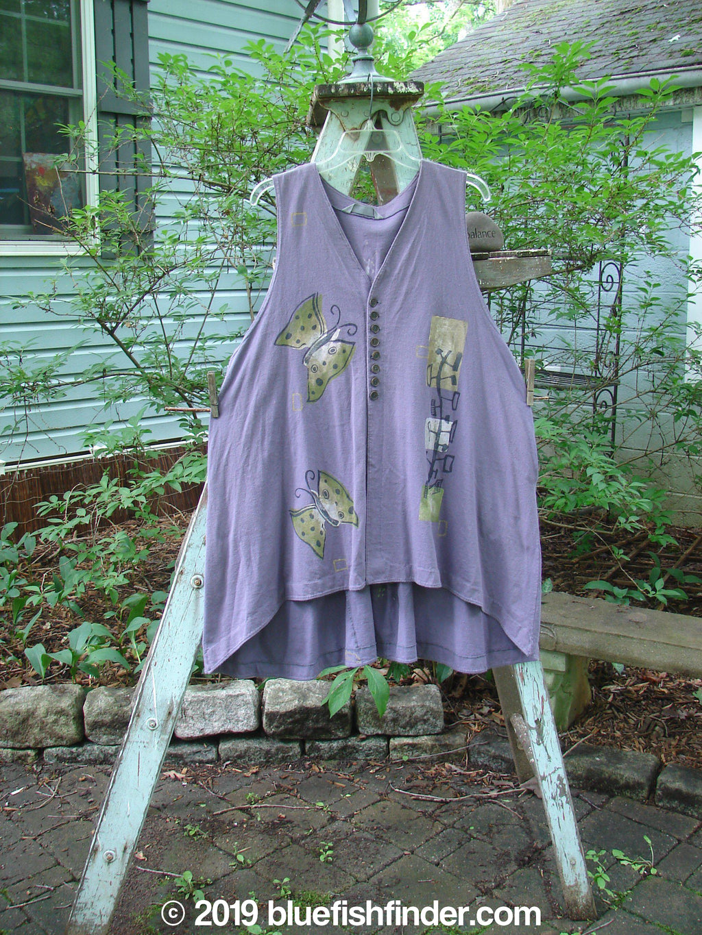 Vintage Blue Fish Clothing 1996 Moonsmile Vest Butterfly Purple Martin OFSA- Bluefishfinder.com