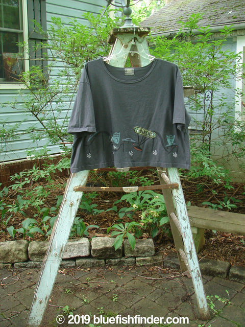 Vintage Blue Fish Clothing 2000 Short Sleeved Crop Tee Diner Orbit Size 2- Bluefishfinder.com