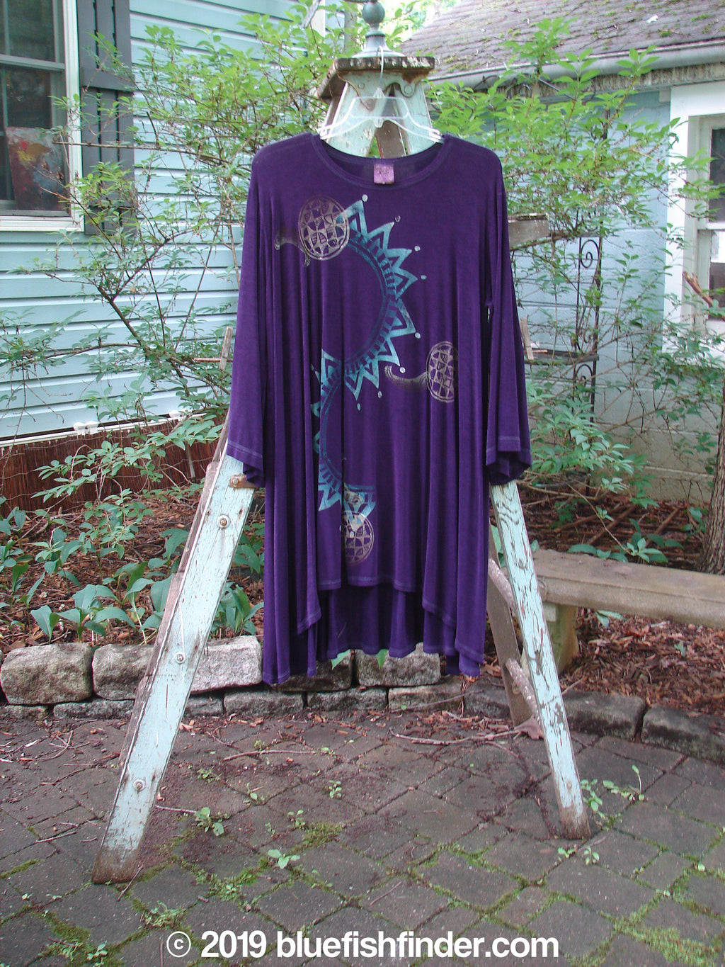 Vintage Blue Fish Clothing 1996 Acetate Calabash Dress Sun Byzantium Size 2- Bluefishfinder.com