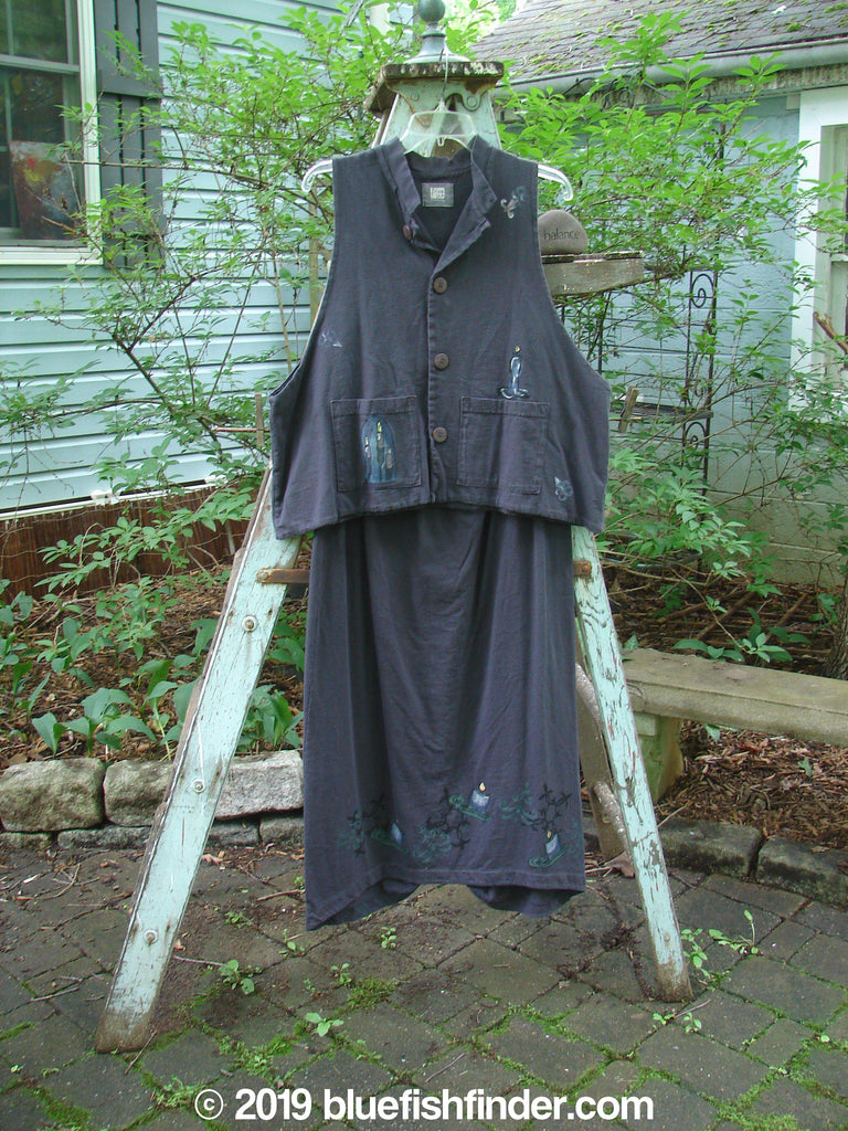 Vintage Blue Fish Clothing 1999 Mandarin Vest Winter Skirt Duo Celtic Candle Raven Size 2- Bluefishfinder.com