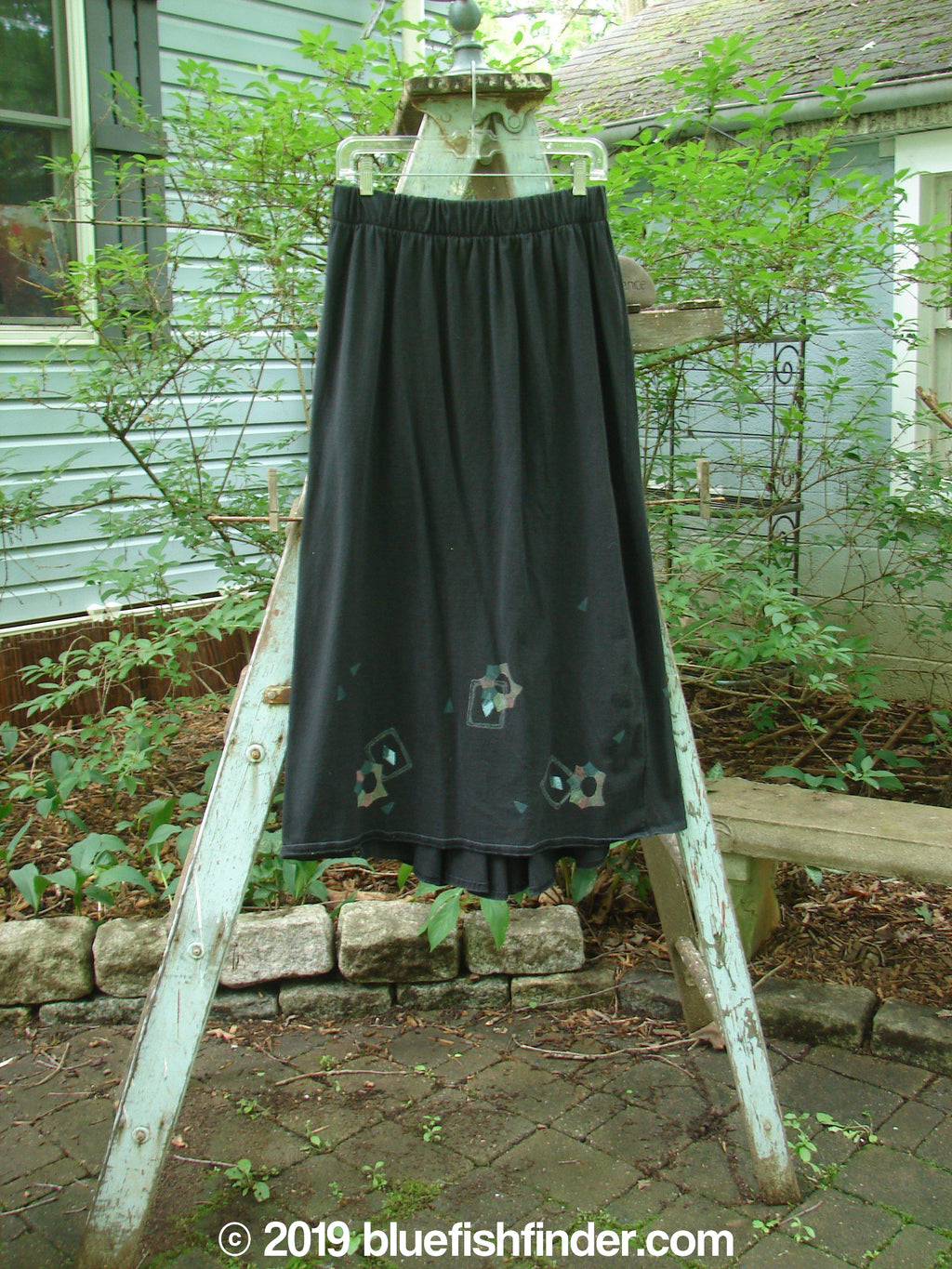 Vintage Blue Fish Clothing 1995 Kick Pleat Skirt Tiny Diamond Black Size 2- Bluefishfinder.com