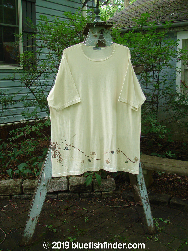 Vintage Blue Fish Clothing Barclay Short Sleeved A Lined Tunic Sea Path Creme Size 3- Bluefishfinder.com