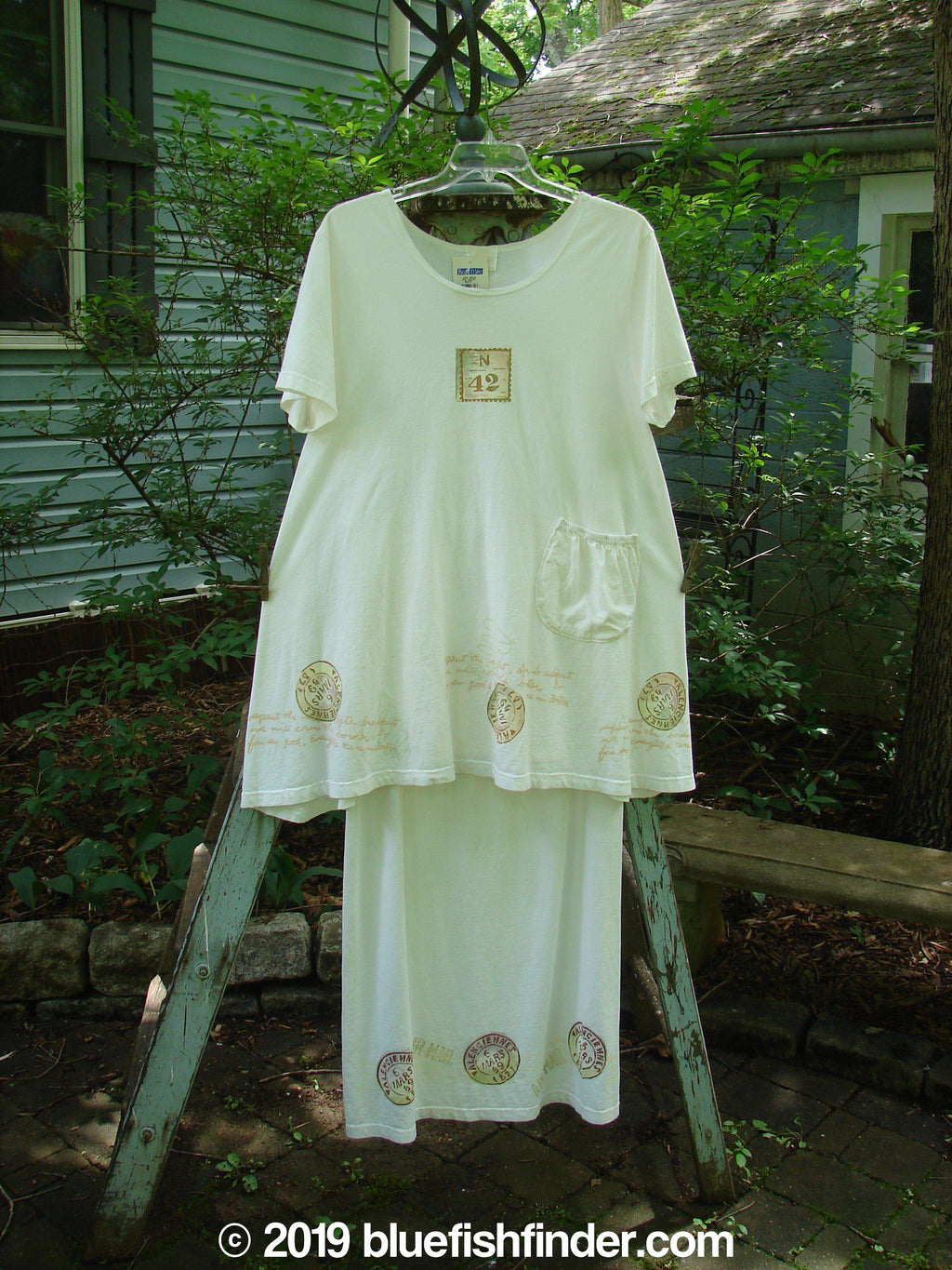 Vintage Blue Fish Clothing 2000 NWT June Dress Straight Skirt Duo Stamp White Size 2- Bluefishfinder.com