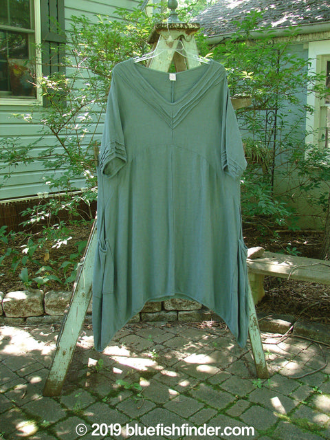Vintage Blue Fish Clothing Barclay Rayon Wave Neck Dress Dusty Green Size 1- Bluefishfinder.com