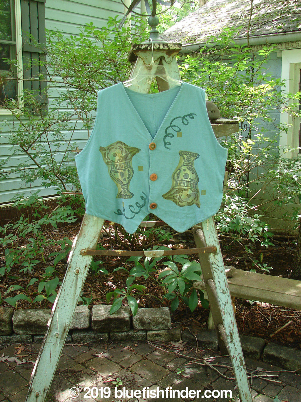 Vintage Blue Fish Clothing 1995 Cottage Vest Fancy Flowers Watercolor OSFA- Bluefishfinder.com