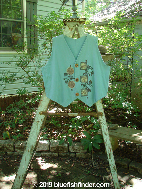 Vintage Blue Fish Clothing 1995 Cottage Vest Flower Buds Watercolor OSFA- Bluefishfinder.com