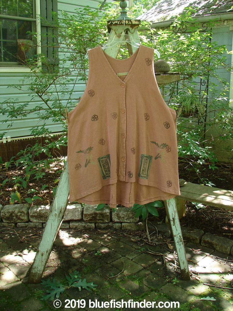 Vintage Blue Fish Clothing 1994 Tab Vest Tiny Flower Monrovian Brick OSFA- Bluefishfinder.com