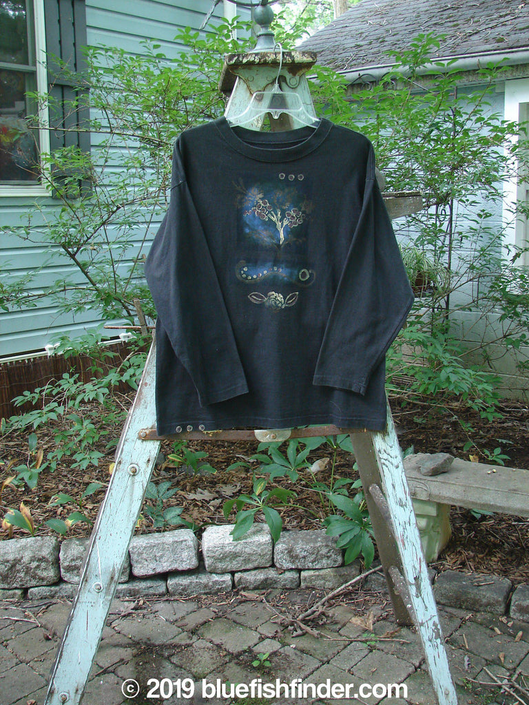 Vintage Blue Fish Clothing Barclay Long Sleeve Tee Berry Twig Black Size 0- Bluefishfinder.com