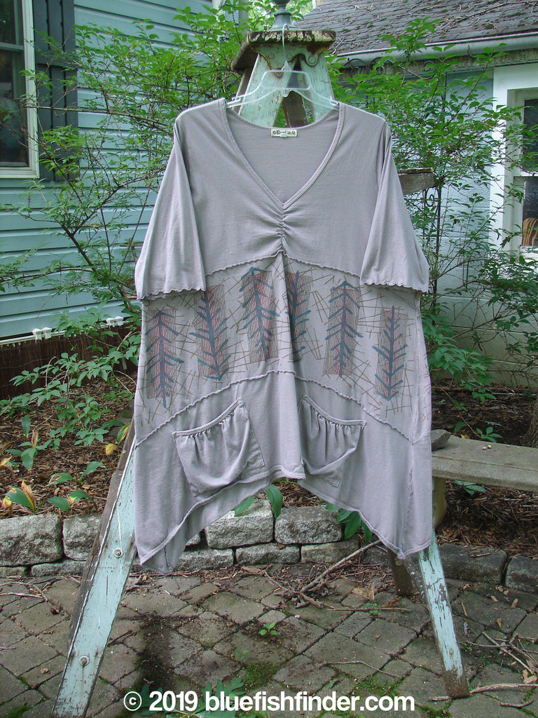 Vintage Blue Fish Clothing Barclay Cotton Lycra Vertical Gather Drop Pocket Dress Pine Forest Grey Stone Size 2- Bluefishfinder.com