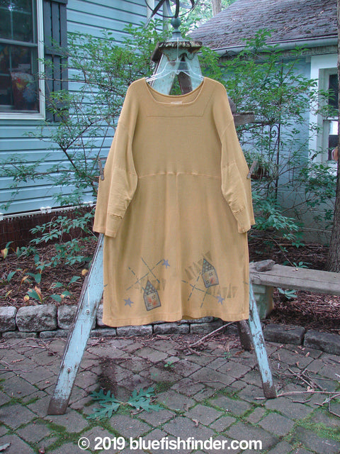 Vintage Blue Fish Clothing 1999 Thermal Home Dress Houses Gold Size 1- Bluefishfinder.com