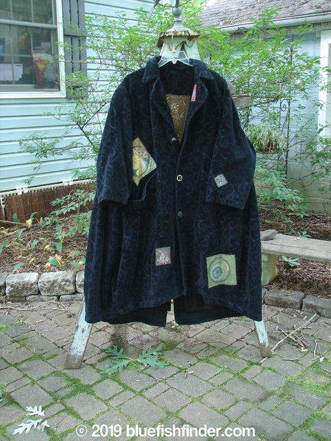 Vintage Blue Fish Clothing 1998 Patched Tapestry Coat Sun Man Black OSFA- Bluefishfinder.com
