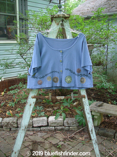 Vintage Blue Fish Clothing 1993 Travel Top Pinwheel Periwinkle Size 2- Bluefishfinder.com