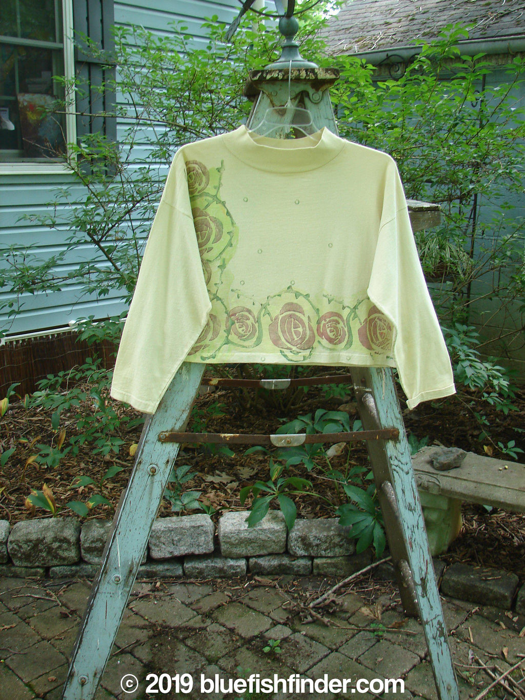Vintage Blue Fish Clothing 1991 Long Sleeved Mock Crop Tee Rose Creme OSFA- Bluefishfinder.com