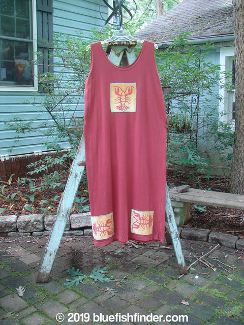 Vintage Blue Fish Clothing 1992 Patched Tank Dress Lobster Pomegranate OSFA- Bluefishfinder.com