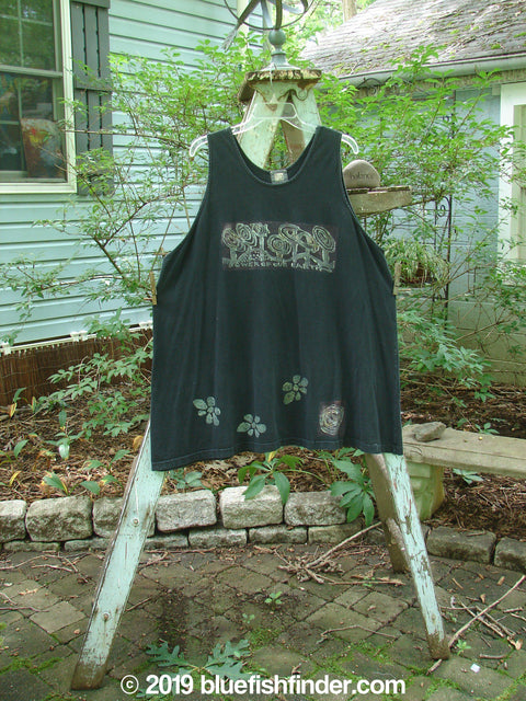 Vintage Blue Fish Clothing 2000 Tank Top Power of The Earth Black Size 2- Bluefishfinder.com