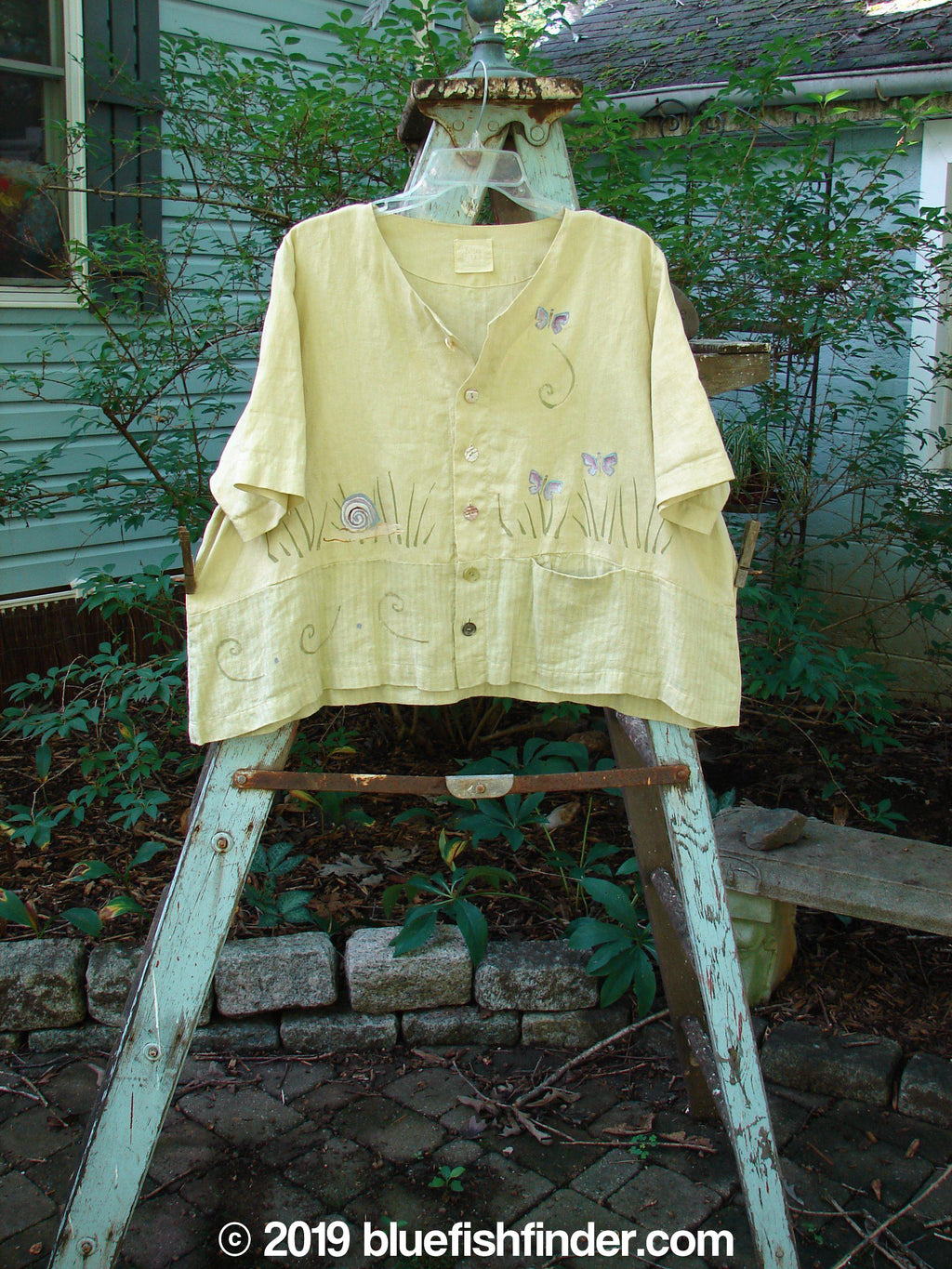 Vintage Blue Fish Clothing 1999 Cabana Top Butterfly Grass Citron Size 2- Bluefishfinder.com