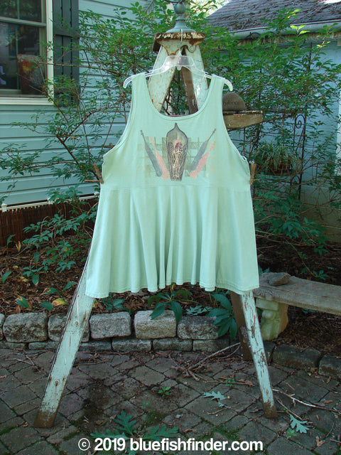 Vintage Blue Fish Clothing 1995 Patio Rose Dress Bottles Dinette Green OSFA- Bluefishfinder.com