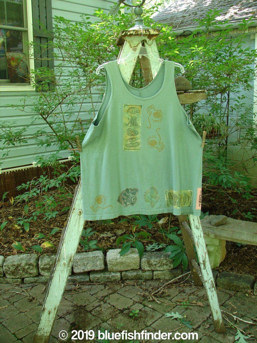 Vintage Blue Fish Clothing 1993 Solo Tank Seashell Grey Green OSFA- Bluefishfinder.com