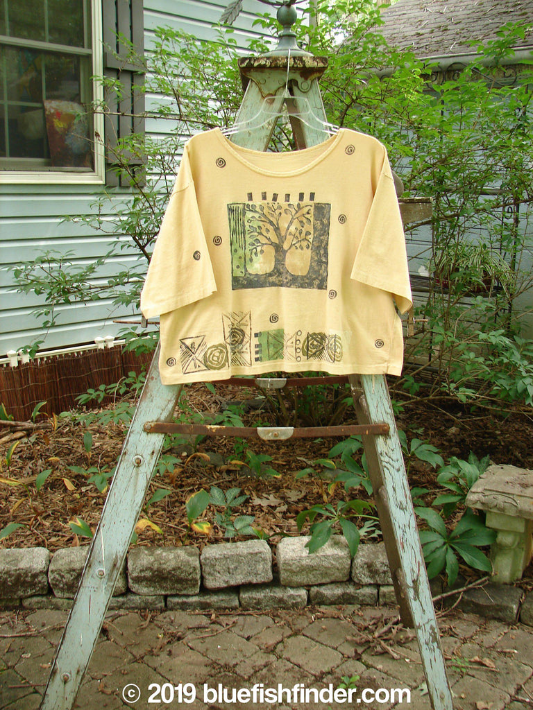 Vintage Blue Fish Clothing 1991 Short Sleeved Crop T Tree Love Goldenrod OSFA- Bluefishfinder.com