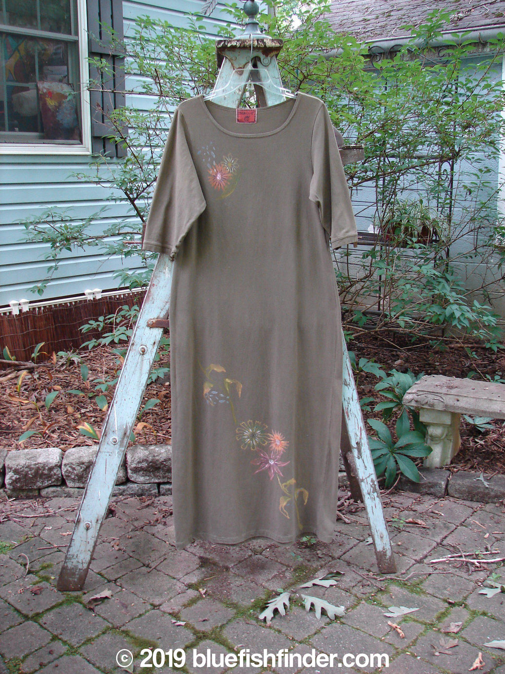 Vintage Blue Fish Clothing Barclay Tide Dress Floral Olive Altered Size 0- Bluefishfinder.com