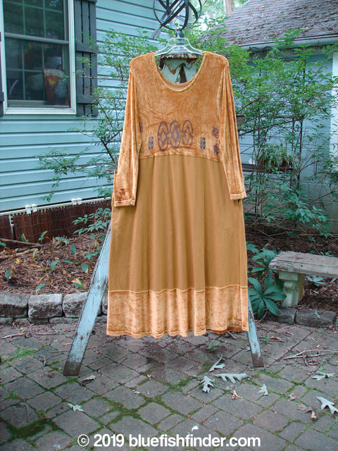 Vintage Blue Fish Clothing 1996 Velvet Diana Dress Holiday Gold Size 2- Bluefishfinder.com