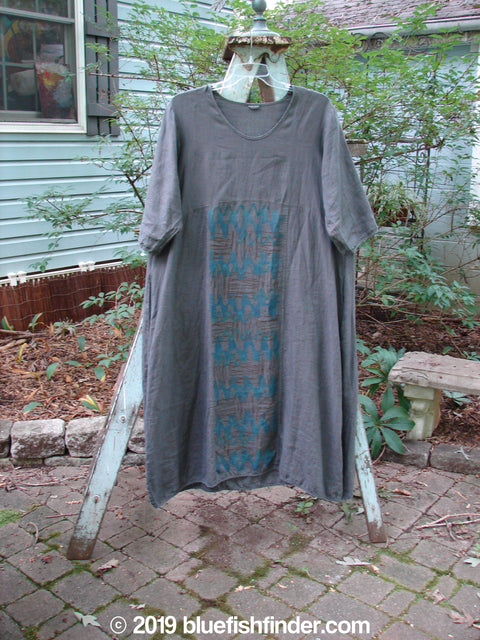 Vintage Blue Fish Clothing Barclay Linen Short Sleeved Empire Dress Abstract Grey Size 1- Bluefishfinder.com