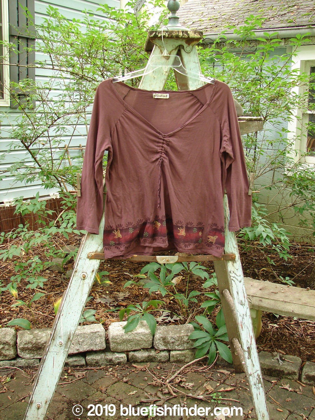 Vintage Blue Fish Clothing Barclay Batiste Decora Gather Top Bird Burgundy Size 1- Bluefishfinder.com