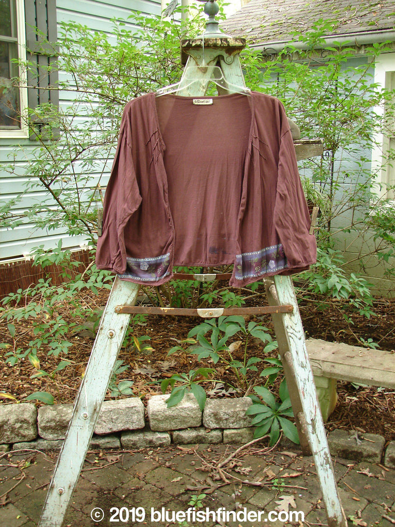 Vintage Blue Fish Clothing Barclay Batiste Decora Sunrise Shrug Garden Burgundy Size 2- Bluefishfinder.com