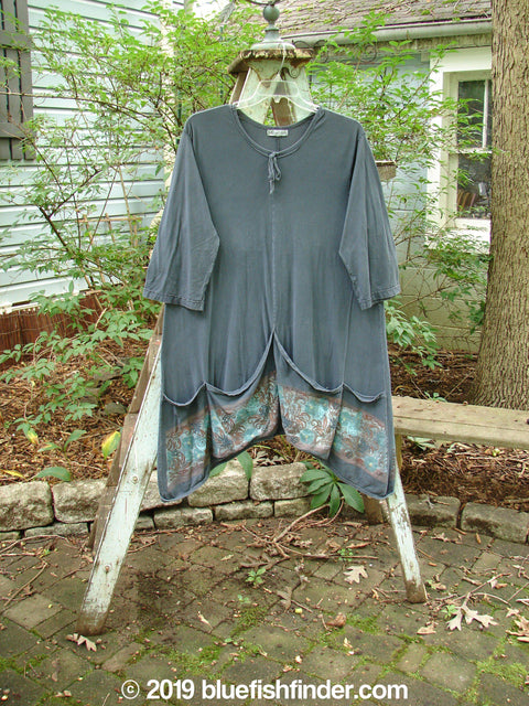 Vintage Blue Fish Clothing Barclay Decora Tie Collar Pocket Tunic Garden Navy Size 2- Bluefishfinder.com
