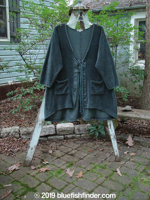 Vintage Blue Fish Clothing Barclay Chenille Tie Front Coat Steel Teal Size 1- Bluefishfinder.com