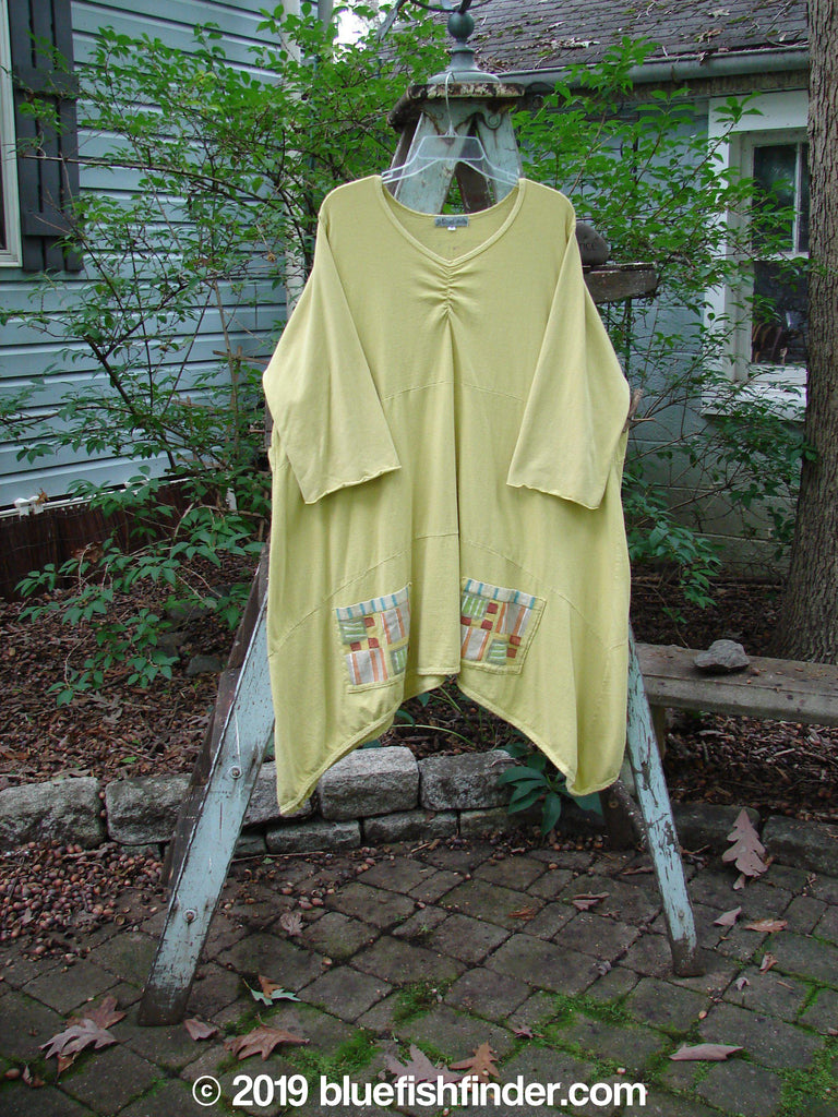 Vintage Blue Fish Clothing Barclay Gather Front Pocket Tunic Geos Yellow Lentil Size 2- Bluefishfinder.com