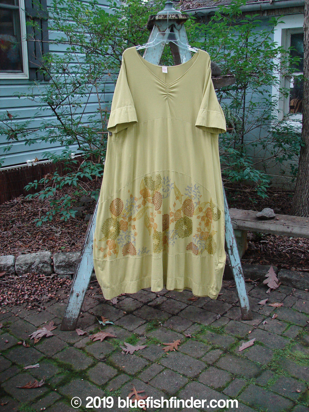 Vintage Blue Fish Clothing Barclay Gather Sectional Dress Whimsical Garden Split Pea Size 1- Bluefishfinder.com