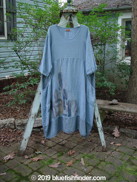Vintage Blue Fish Clothing Barclay Linen Urchin Pocket Dress Cactus Garden Cross Dye Sky Size 1- Bluefishfinder.com