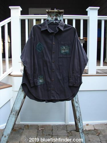 Vintage Blue Fish Clothing 1995 Denim Zeichner's Jacket Kitty Kitty Madder OSFA- Bluefishfinder.com