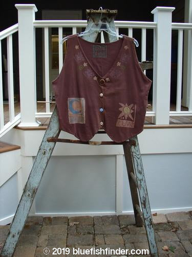 Vintage Blue Fish Clothing 1989 Folk Vest Sun Moon Paprika OSFA- Bluefishfinder.com