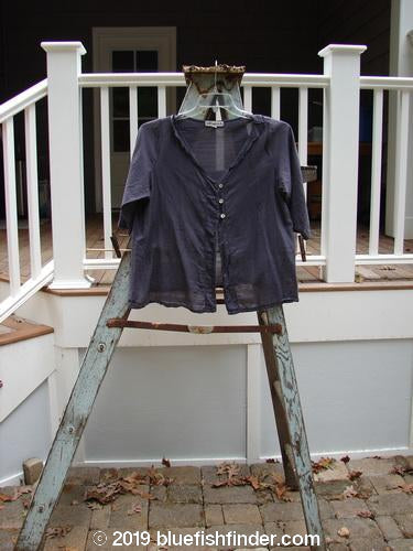 Vintage Blue Fish Clothing Barclay Batiste Three Button Blouse Navy Plum Size 1- Bluefishfinder.com