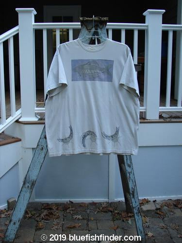 Vintage Blue Fish Clothing 1999 Short Sleeved Tee Trout and Moon Natural Size 2- Bluefishfinder.com