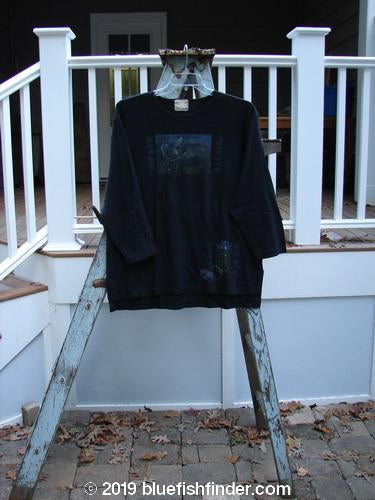 Vintage Blue Fish Clothing 1999 Artist Choice Long Sleeved Vented Tee Kitty Kitty Black Size 1- Bluefishfinder.com
