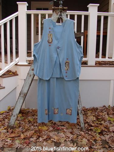 Vintage Blue Fish Clothing 1997 Elements Dock Vest Straight Skirt Duo Shells Atlantis Size 2- Bluefishfinder.com