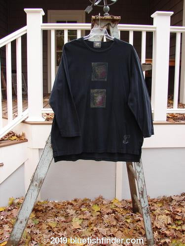 Vintage Blue Fish Clothing 1999 Long Sleeved Vented Tee Double Mug Black Size 2- Bluefishfinder.com