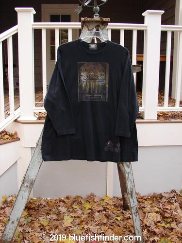Vintage Blue Fish Clothing 1999 Holiday Long Sleeved Vented Tee Fancy Gate Black Size 2- Bluefishfinder.com