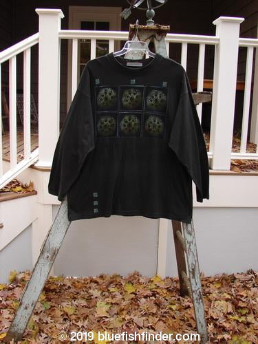 Vintage Blue Fish Clothing 1997 Long Sleeved Tee Pinwheels Ebony Size 2- Bluefishfinder.com